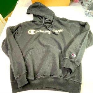Champion Black Hoodie Men Medium Hooded Sweatshirt